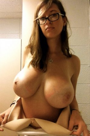 amateur photo Amateur girl with glasses and some huge boobs