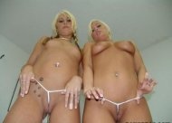Blondes showing their shaved pussies!