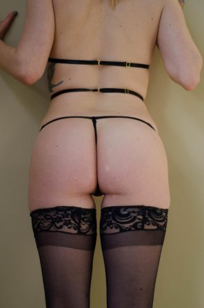 amateur photo [Self] Black Thigh Highs with a skimpy thong is ALWAYS a winner in my books.