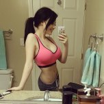 amateur photo Pink sports bra
