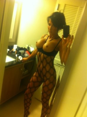amateur photo Black bodystockings