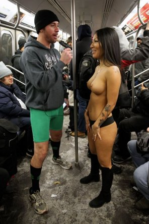 amateur photo Asa Akira on the subway
