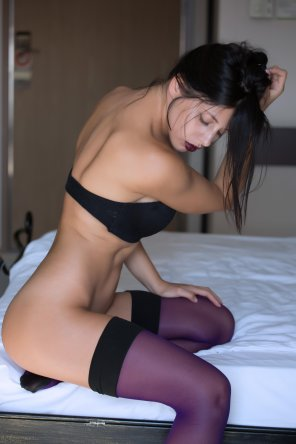 amateur photo Purple thigh highs and purple lips
