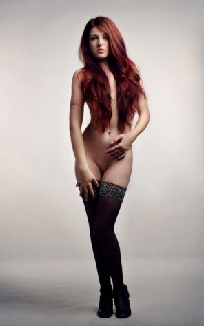 amateur photo Redhead with stockings