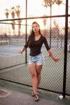 amateur photo Carol Seleme in jean shorts