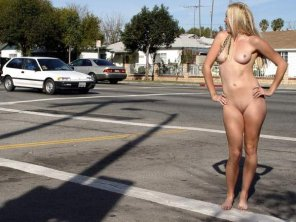amateur photo blonde in the crosswalk