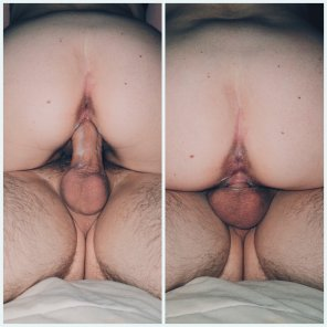 amateur photo My wife filling herself up - 38F 39M
