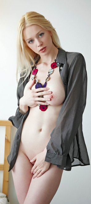 amateur photo when necklace is all that she needs