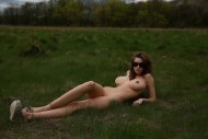 Lounging in the green grass