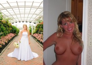 amateur photo Bride showing off her tits