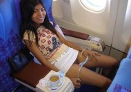 Asian Panty peek on the plane