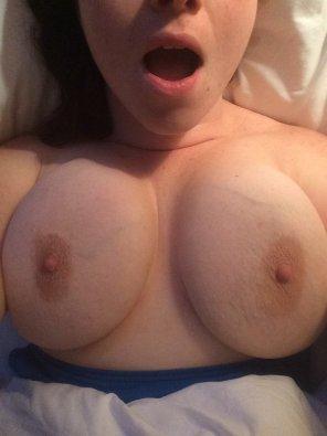 amateur photo Cum on my big beautiful tits! SC: soadams21
