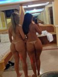 amateur photo Hotel room butts with tan lines.