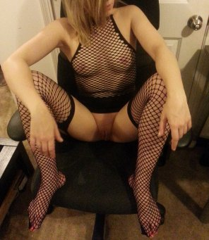 amateur photo In her Fishnet Lingerie