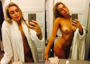 amateur photo Fit Thin Amateur Blonde with her iPhone