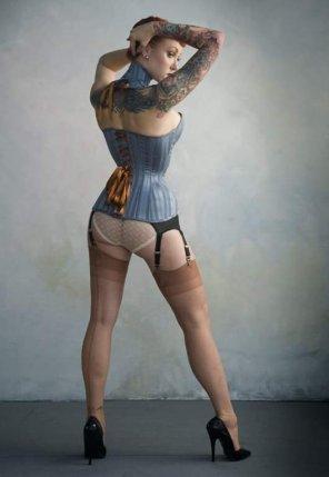amateur photo Corset, stockings, high collar, tats