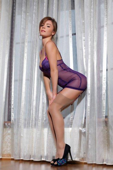 Classic pose and purple Porn Photo