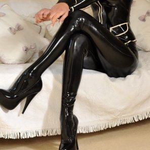 amateur photo High heels in latex outfit