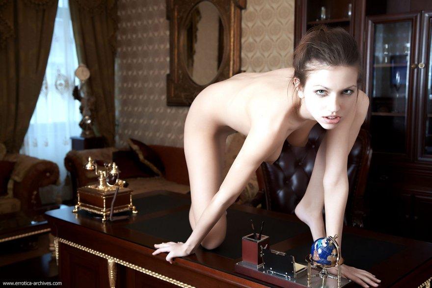 On a desk Porn Photo