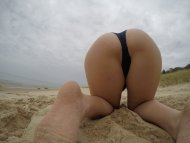 Bent over at the beach