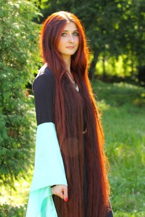 amateur photo Super long red hair