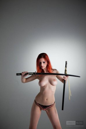 amateur photo Ariel with a katana