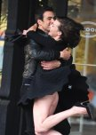 amateur photo Milla Jovovich has a wardrobe malfunction on set of commercial