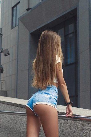 amateur photo Tiny tight jean shorts