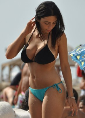 amateur photo Black bikini top at the beach