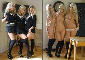amateur photo Triple Schoolgirl On/Off