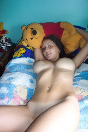 amateur photo HOT Winnie the Pooh fan is bouncy like Tigger