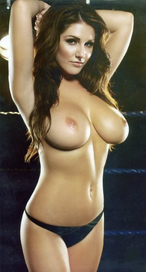 amateur photo Lucy Pinder stretching before her fight