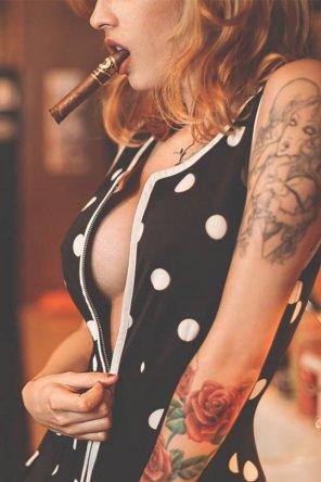 amateur photo Smoking a cigar