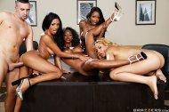 Anya Ivy - Ebony Girls 4 ON 1 office bang