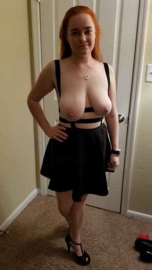 amateur photo Do you want to [F]uck me in my high heels and strappy half dress? Oh and I don't have panties on ;-)