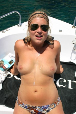 amateur photo Amateur on boat gets cum on tits