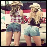 amateur photo Sisters in daisy dukes. Which one would you chose?