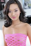 amateur photo Alina Li in a pink mesh top