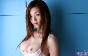 amateur photo Lovely japanese woman with juicy tits falling out of her lacy lingerie