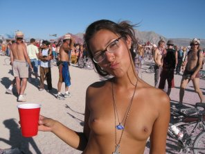 amateur photo Cute And Topless Burning Man Girl