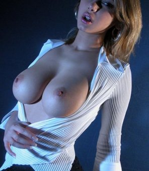 amateur photo Burst out of her shirt