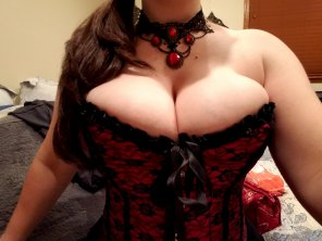amateur photo Spilling out of the corset