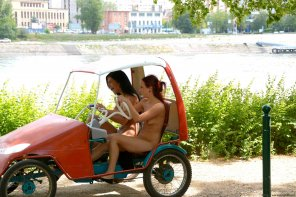 amateur photo Two nude girls enjoying an exciting ride