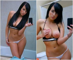 amateur photo Raven Haired Beauty In/Out Of A Bikini