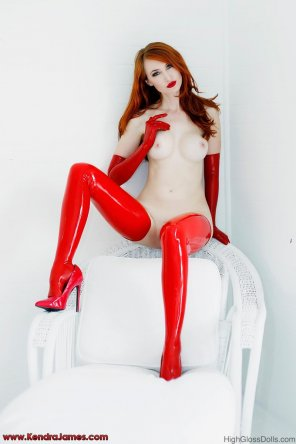 amateur photo Shiny red stockings
