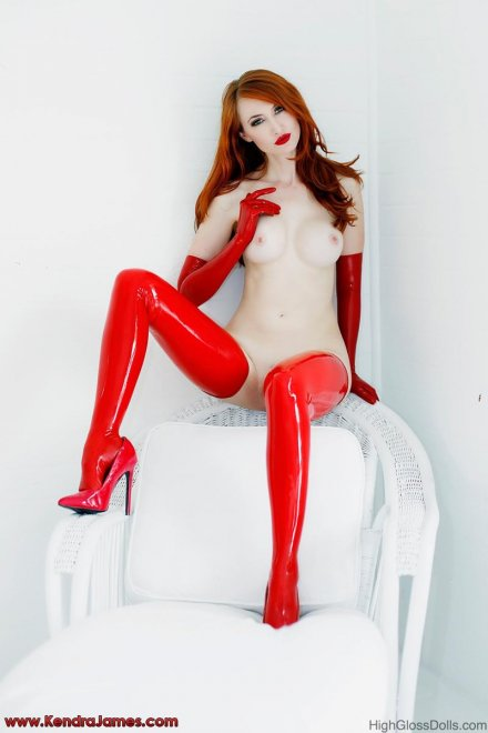 Shiny red stockings Porn Photo
