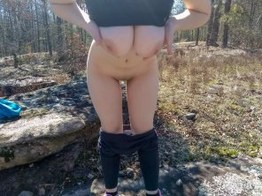 amateur photo Showing my booty off in the woods!