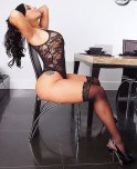 amateur photo Curvy woman in black stockings