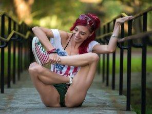 amateur photo Doing yoga in park