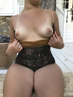 amateur photo Wife showing off poolside